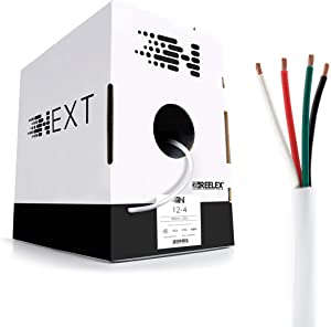 Next 12/4 Speaker Wire - 12 AWG/Gauge 4 Conductor - UL Listed in Wall (CL2/CL3) and Outdoor/In Ground (Direct Burial) Rated - Oxygen-Free Copper (OFC) - 250 Foot Bulk Cable Pull Box - White