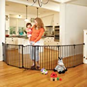 North States 3-in-1 Arched Décor Metal Superyard - 144  Long Play Yard: Create an extra-wide gate or a play yard. Hardware mount or freestanding. 6 panels, 10 sq.ft. enclosure (30  tall, Matte bronze)