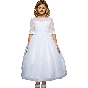 aa32471d960d Amazon.com  Just For Kids Off-White First Communion or Baptism Dress ...