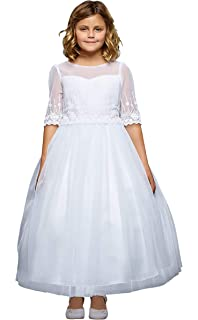 5df801c2806d Amazon.com  Dreamer P Little Girls Simple First Communion Cascading ...