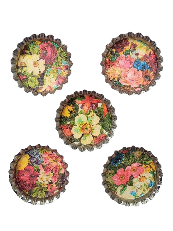 Vintage Victorian Flowers Kitchen Home Decor Refrigerator Magnets Set of 5