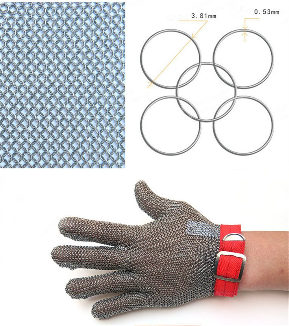 Inf-way 304L Brushed Stainless Steel Mesh Cut Resistant Chain Mail Gloves Kitchen Butcher Working Safety Glove - As Seen On TV 1pcs (Extra Large) by Inf-way (Image #5)