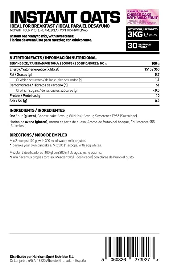 HSN RAW - Harina de Avena Instantánea en Polvo de Sabor Tarta de Queso y Frutas del Bosque - 3000 gr: Amazon.es: Salud y cuidado personal