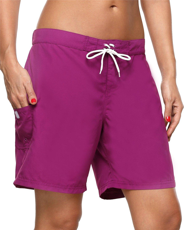 ALove Women's Stretch Boardshorts Long Swim Shorts Loose Fit Swimsuits Bottom Purple XXL