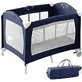RiZKiZ ベビーサークル/プレイヤード バシネット付き ネイビーブルー 2WAY 4面メッシュ キャスター 折りたたみ 収納 赤ちゃん おむつ台 ベッド フェンス