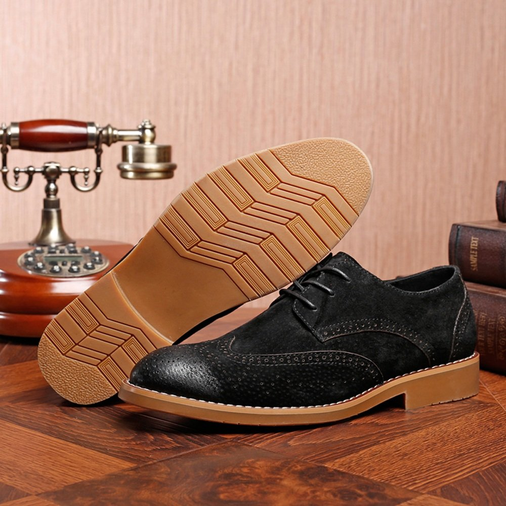 Hilotu Clearance Party Shoes Men's Classic Business Shoes Matte Breathable Hollow Carving Genuine Leather Lace Up Lined Oxfords (Suede Optional) (Color : Suede BLK, Size : 8 D(M) US) by Hilotu-shoes (Image #4)