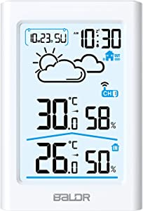 BALDR Indoor Outdoor Thermometer & Hygrometer with White Backlight, Digital Wireless Weather Station, Temperature Monitor, Humidity Gauge Meter, Battery-Operated, White