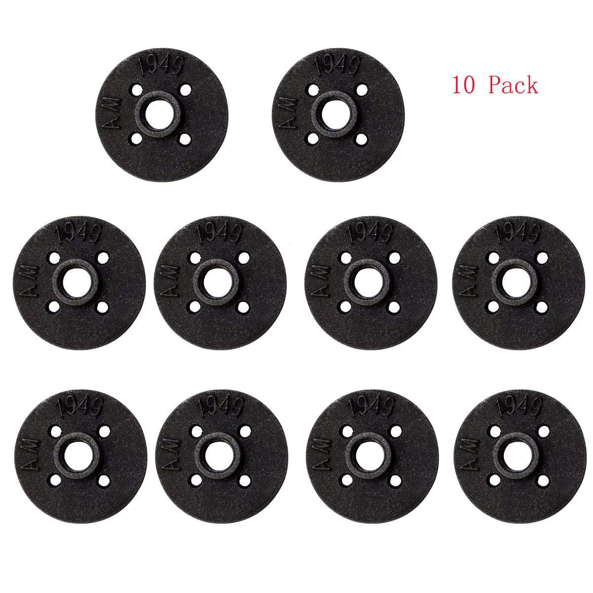 """10-Pack Black Malleable Iron Floor Flange Pipe Fittings, Perfect for Industrial Pipe Furniture and DIY Decor (1/2"""" Flange)"""