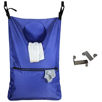 LUXJA Adjustable Hanging Laundry Hamper with 2 Stainless Steel Hooks, Laundry Hamper Bag, Blue