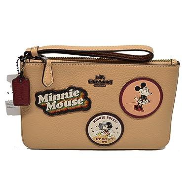 f2b10f07d1ea Coach X Disney Minnie Mouse Patch sm Leather Wristlet Beechwood  Handbags   Amazon.com