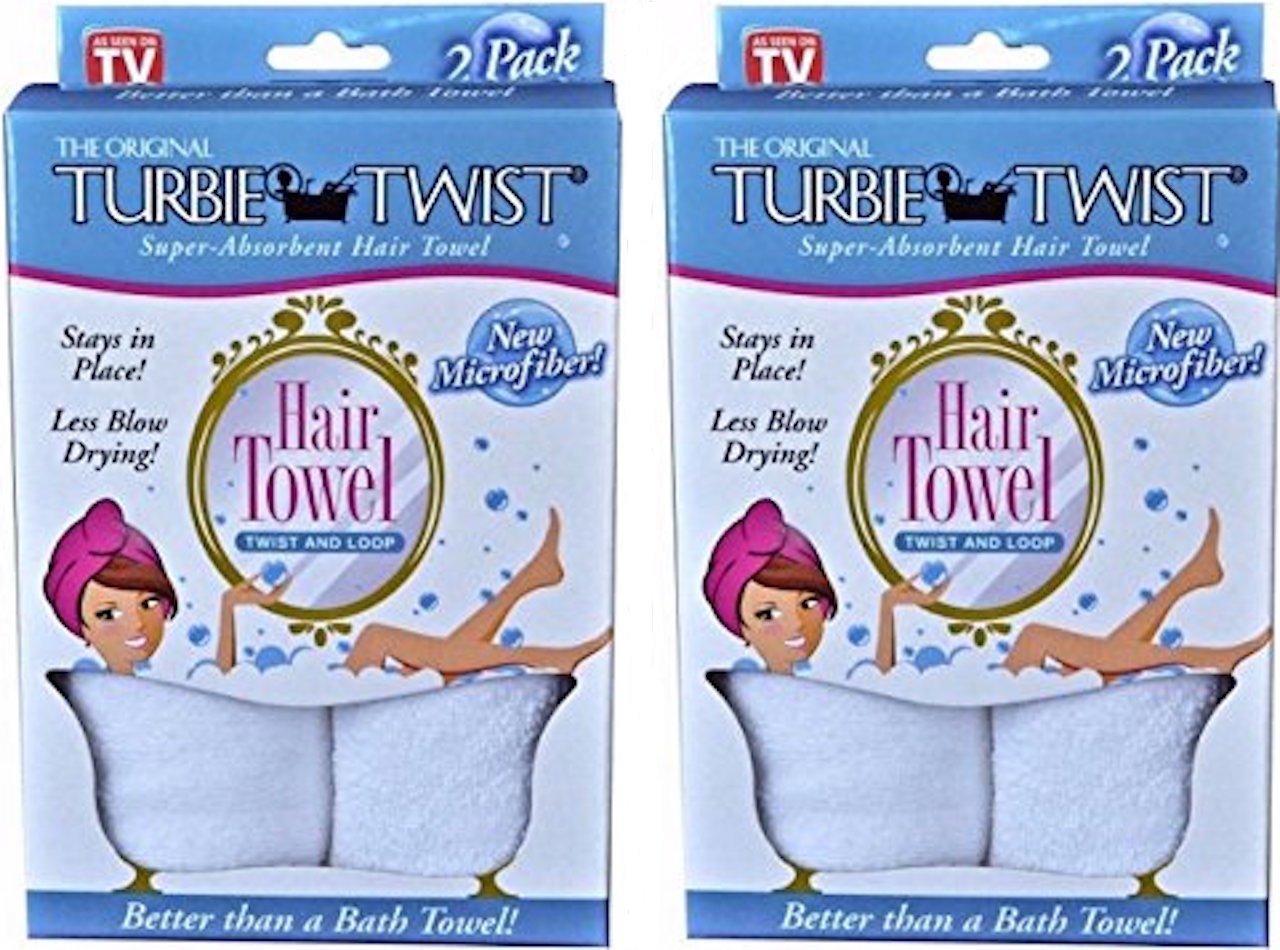 Turbie Twist Microfiber Super Absorbent Hair Towel (2 Pack)white Set of 2 by Turbie Twist
