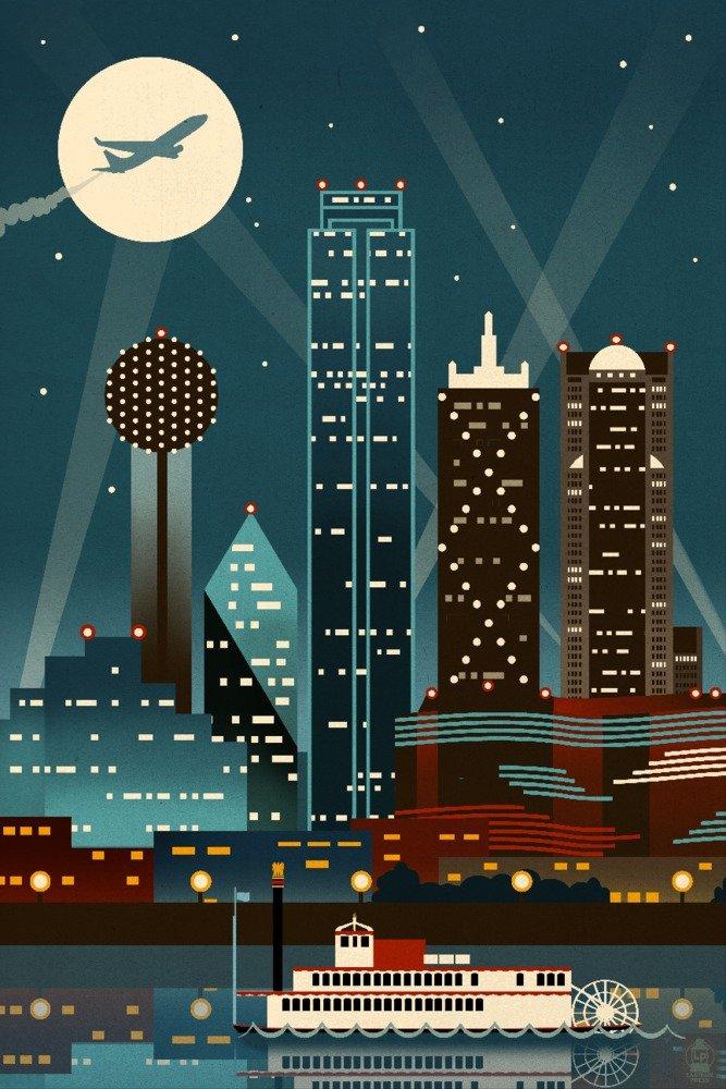 Dallas, Texas - Retro Skyline (no text) (24x36 Giclee Gallery Print, Wall Decor Travel Poster) by Lantern Press