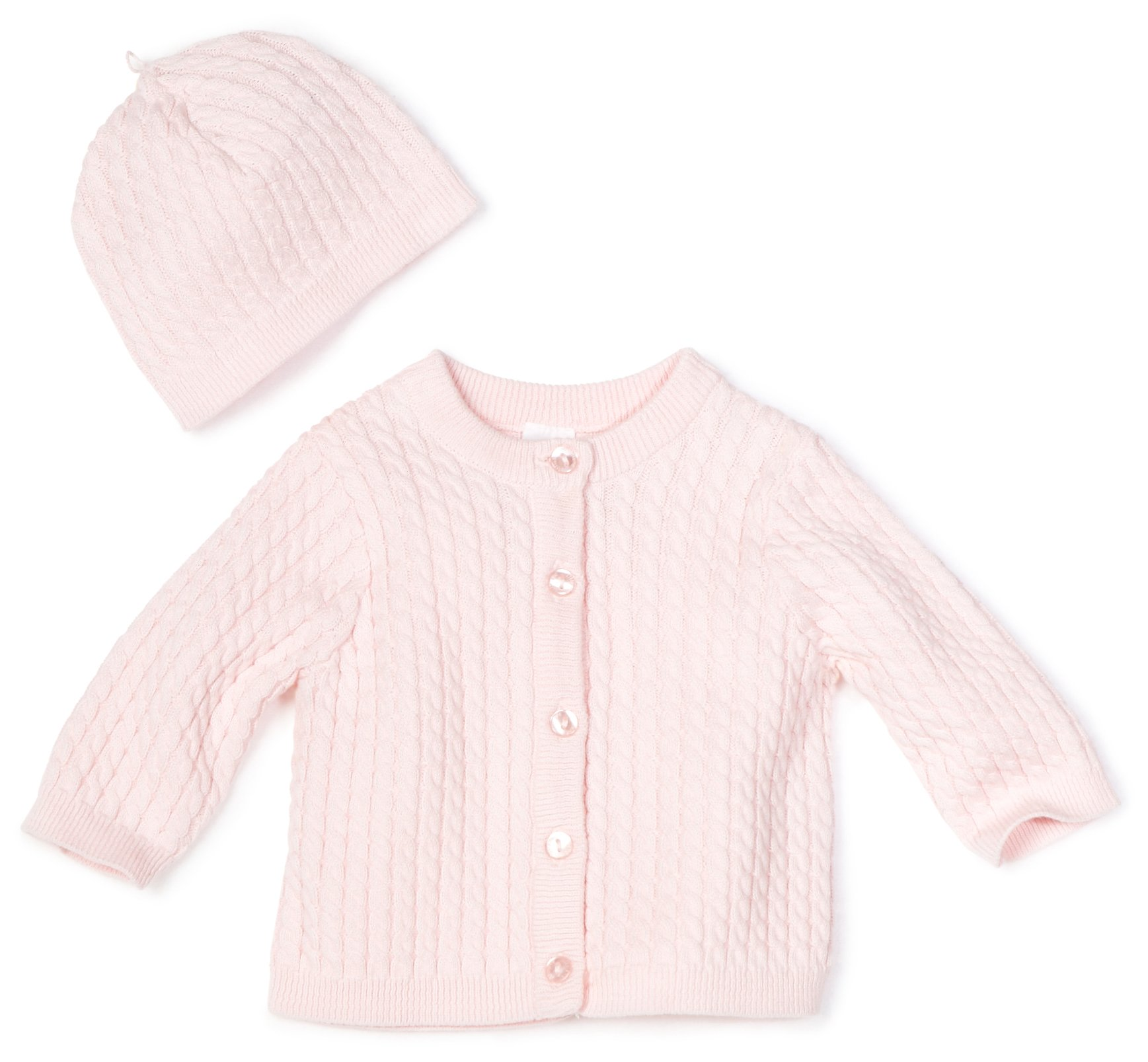 Little Me Baby Girl Newborn Adorable Cable Sweater, Light Pink, 3 Months by Little Me