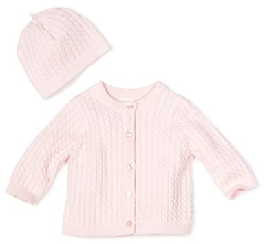 Amazon.com: Little Me Baby-Girls Newborn Light Pink Cable Sweater ...