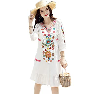 Trendy-Nicer Bohemian Dress White Plus Size Indie Folk Style ...