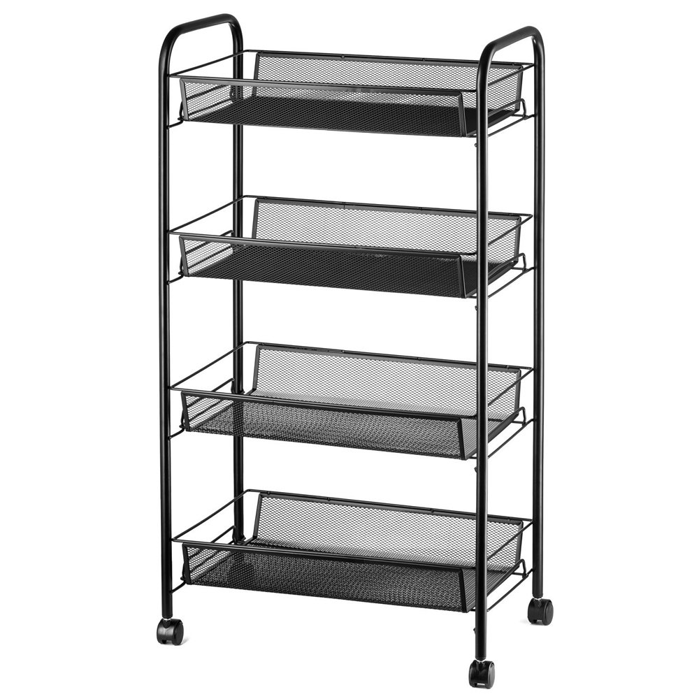 Teeker 4-Tier Rolling Basket Stand, Full Metal Rolling Trolley for Kitchen Bathroom – Four Tier Storage Cart w Shelves Wheels