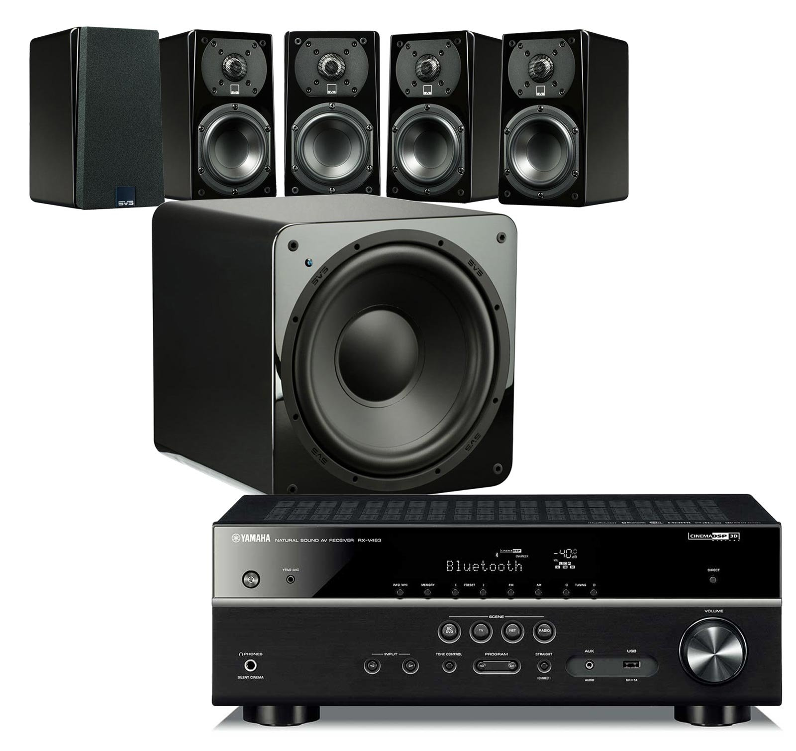 SVS Home Theater Prime Satellite 5.1 Package Featuring 5 Prime Wired Satellite Speakers, SB–1000 Wired Subwoofer (Piano Gloss), and Yamaha RX-V483BL 5.1-Channel 4K Ultra HD AV Receiver with Bluetooth by SVS