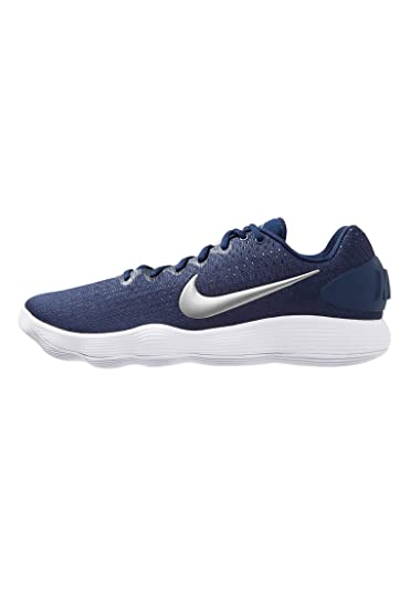 d336733139de Nike Men s React Hyperdunk 2017 Low Midnight Navy Metallic Silver White  Synthetic Running Shoes