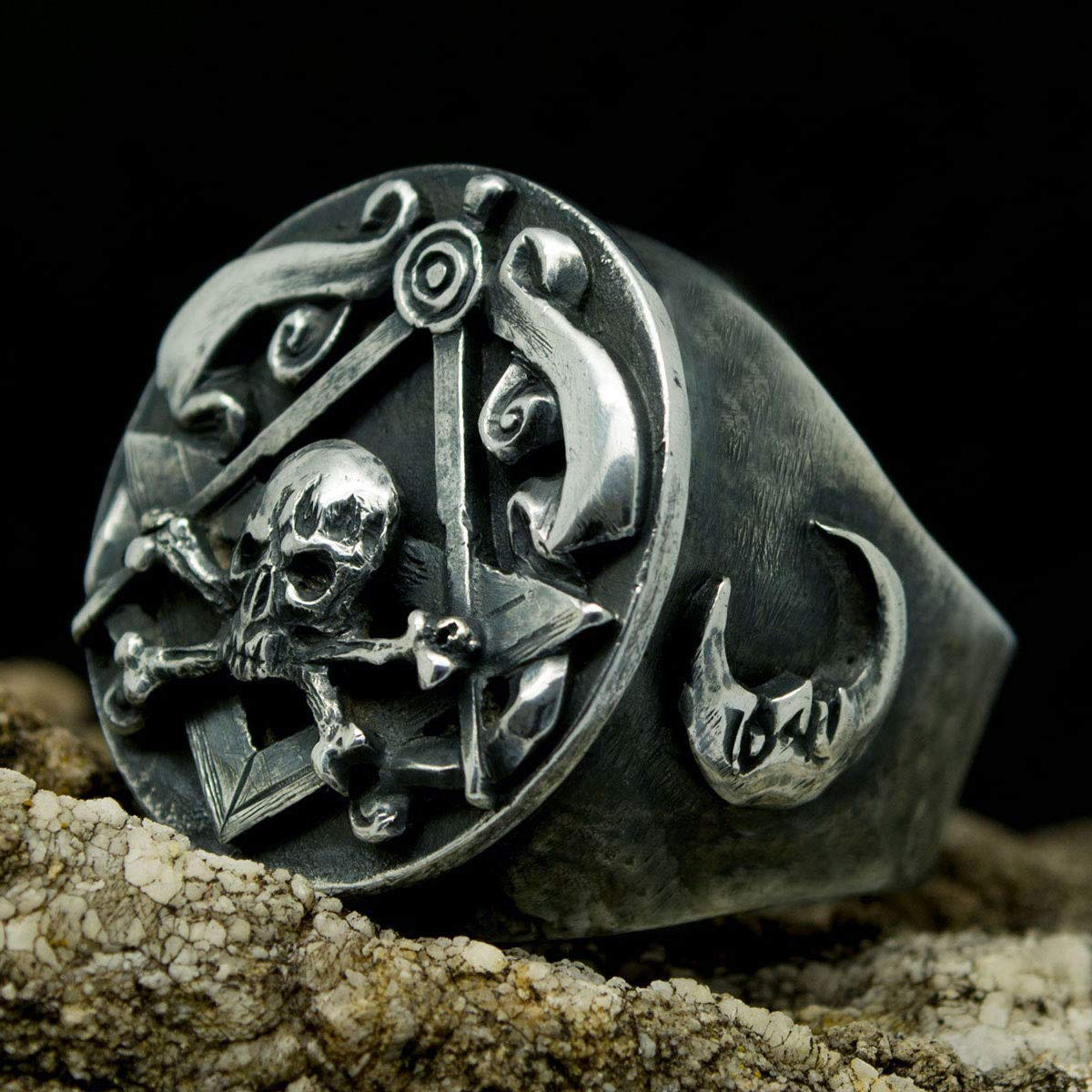 SignoArt Handmade Masonic Ring Silver Skull Crossbones Gothic Mens Black Oxidized Jewelry Biker Gift All Sizes