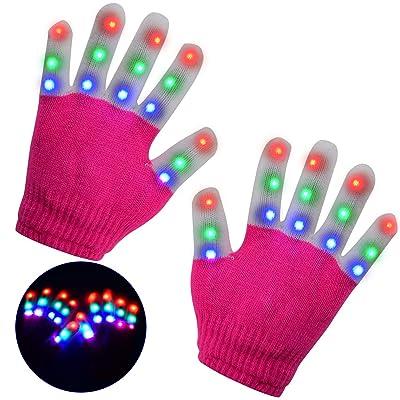 LSXD LED Gloves for Kids, Flashing Finger Light Kids Gloves Toys for Halloween, Party, Christmas, Birthday Gift: Toys & Games