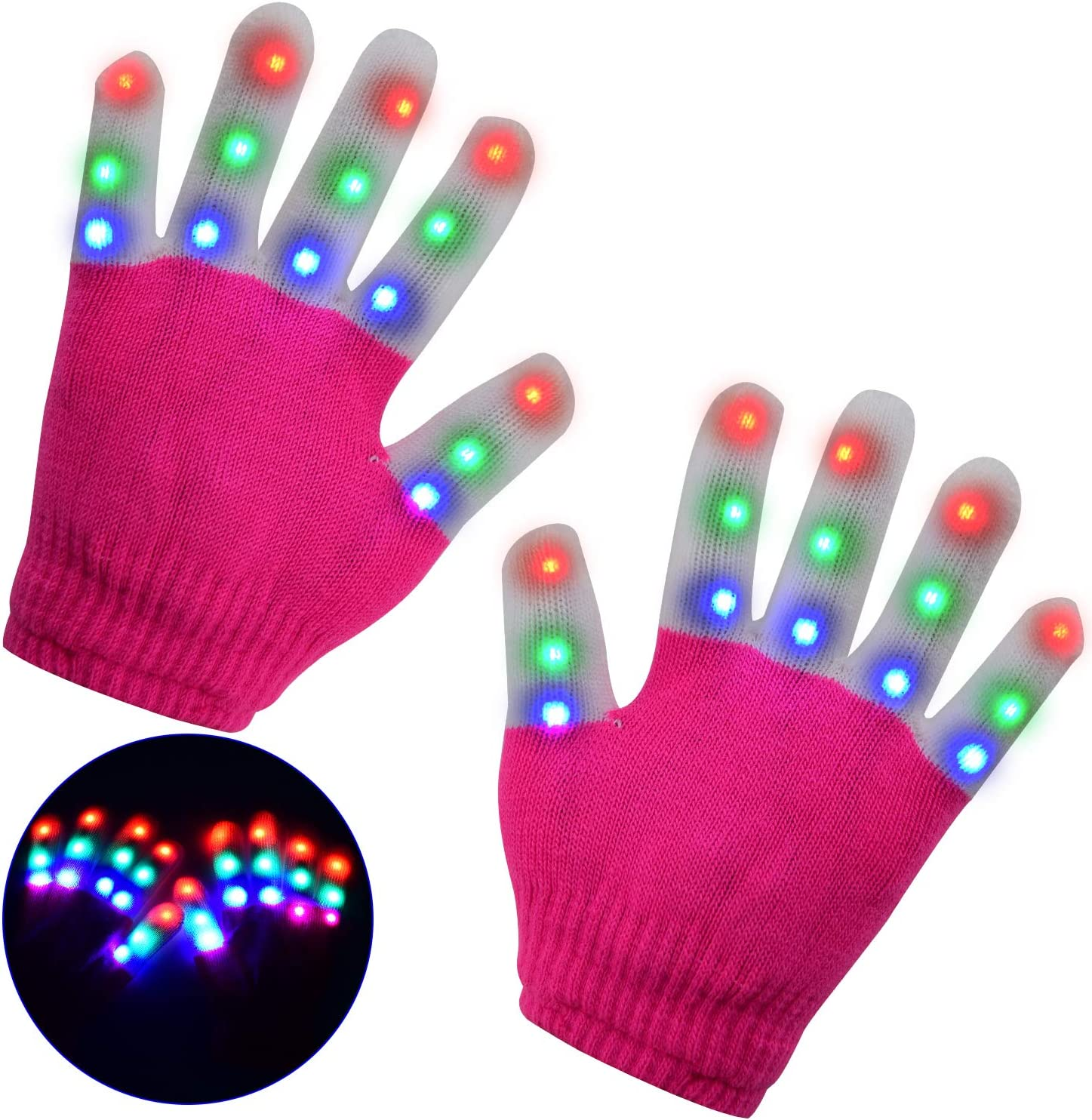 Finger Lights 3 Colors 6 Modes Flashing LED Warm Gloves Colorful Flashing Rave Glow Gloves Kids Toys for Christmas Halloween Party Favors Light Up Toys Novelty M-deal . LSXD LED Gloves