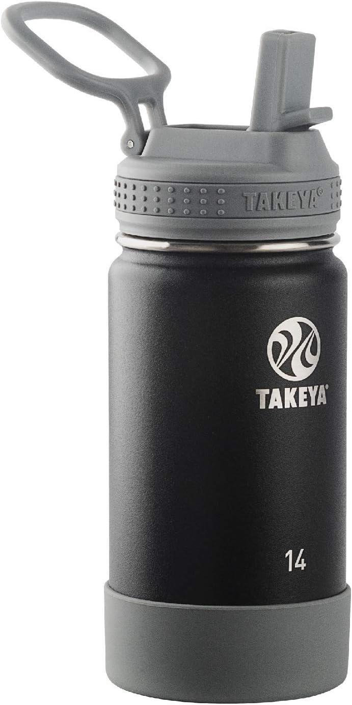 Takeya Kids Insulated Water Bottle w/Straw Lid, 14 Ounces, Blackberry