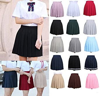 1cf912de172 UNIYA(ウニヤ) コスプレ衣装 プリーツスカート 無地 学生 ミニスカート 可愛い 女子高生 制服
