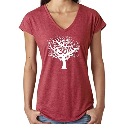 Yoga Clothing For You Ladies White Tree of Life V-neck Tee