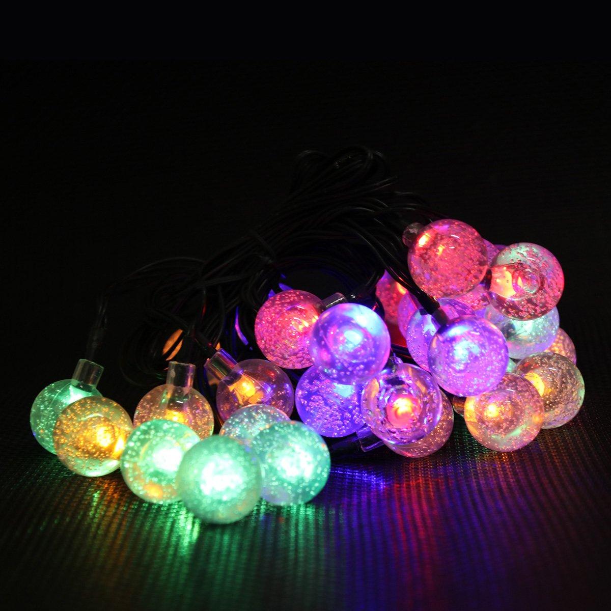 Multi-Color Ambiance Lighting for Bedroom//Patio//Garden//Parties//Wedding//Festival JML WFD Waterproof 19.7ft 30 LED Water//Rain Drop Fairy Lights Solar Outdoor String Light