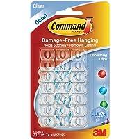 Command Plastic Decor Clip(Clear,20 Clips and 24 Mini Strips)