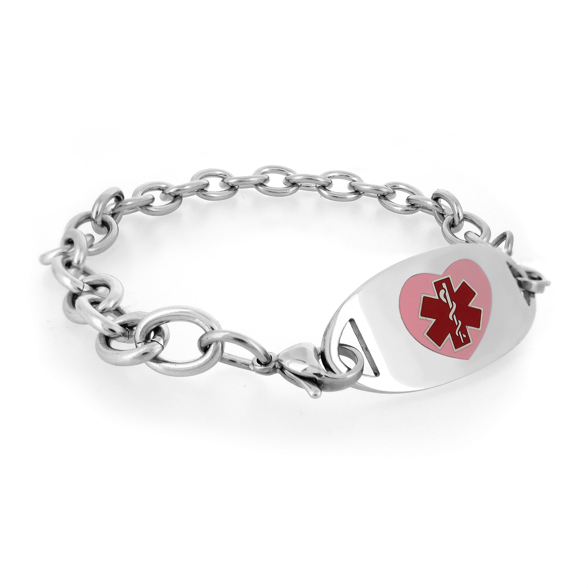MedicEngraved Womens Stainless Steel Medical ID Bracelet with Pink Heart Enamel Medical Tag - 6.5in (LS-PHT)