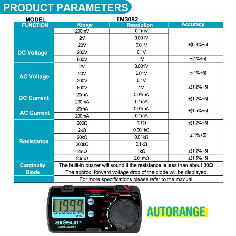 allsun Mini Auto Range Digital Multimeter AutomotiveTester AC DC ...