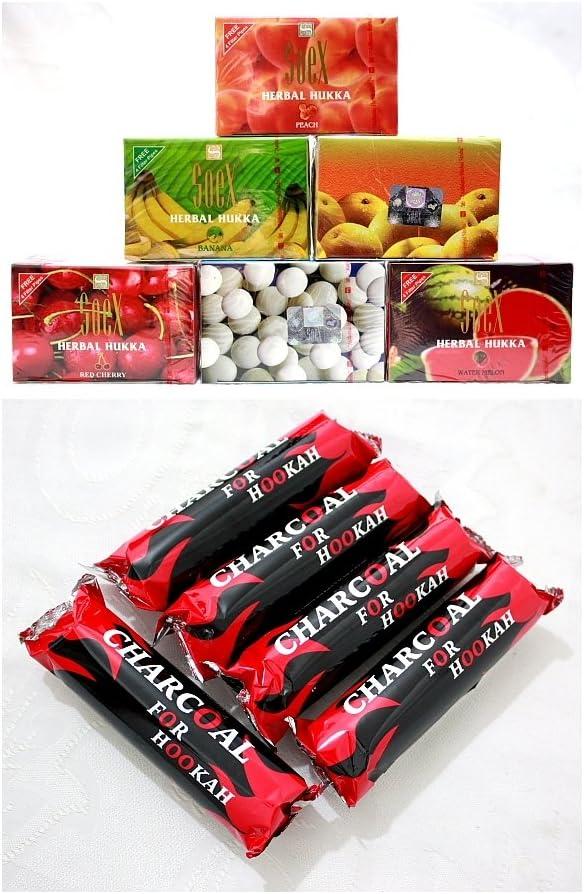 ¡Venta! Hookah Shisha - Repelente de tuberías (6 Cajas de soex, 100% Hierbas Shisha Molasses y 50 pestañas, carbón Vegetal)