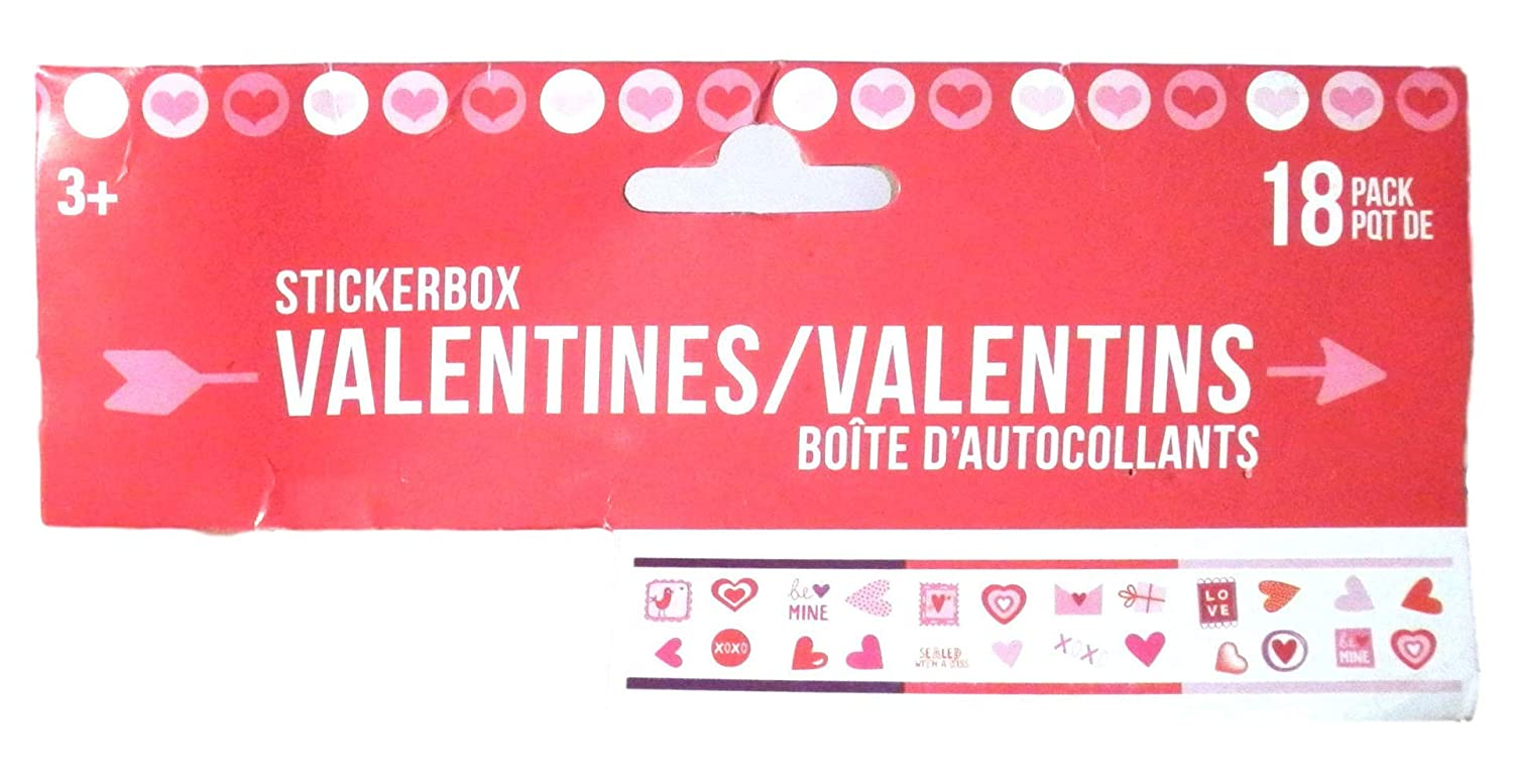 Happy for Kids Bundle of 2-18 Pack Sticker Box Valentines Girl or Boy Gift Generic
