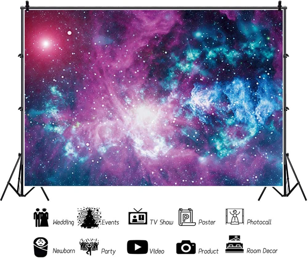 YEELE 5x3ft Nebula Backdrop Giant Meteor with Train Nearest of Planet Earth Photography Background Sci-fi Event Space Theme Birthday Kids Adults Artistic Portrait Photoshoot Props