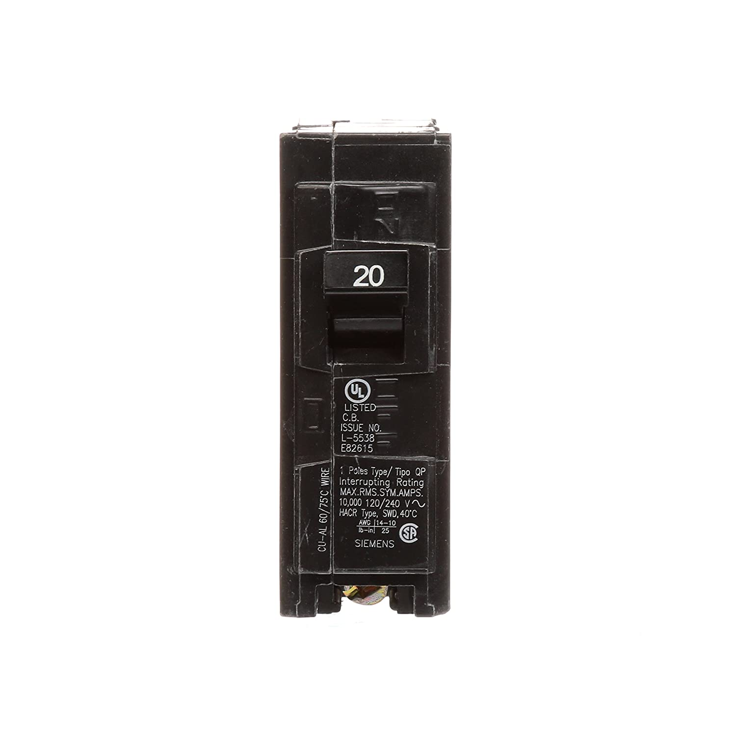 Q120 20-Amp Single Pole Type QP Circuit Breaker - Siemens Q Breaker ...