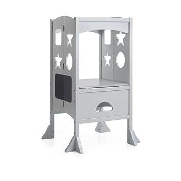 Guidecraft Kids Kitchen Helper   Gray Adjustable Counter Height Nursery,  Kitchen Footstool For Toddlers