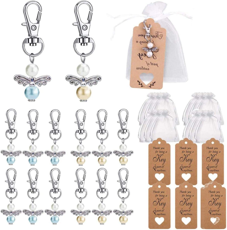 Boda Bautizo Colgante BESTZY 12PCS llavero estilo ángel con Bolsa de Gasa Etiqueta Kraft Cuerda para colgante, perlas, ángel de la guarda para boda, bautizo, comunión, confirmación, regalo