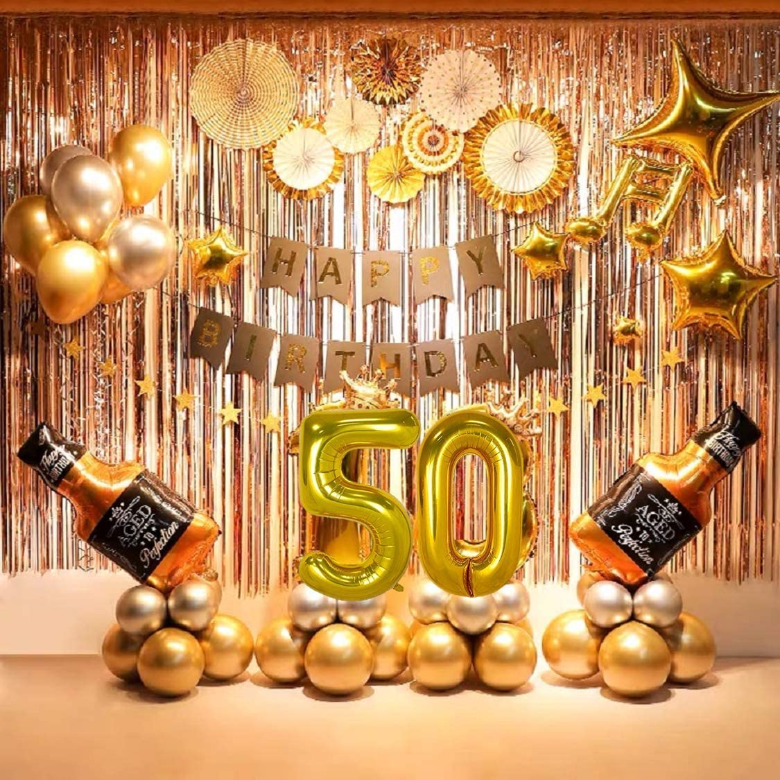 Amazon.com: 50th Birthday party Supplies 50th party decorations balloons  set with Birthday Banner(68 Pcs included): Toys & Games