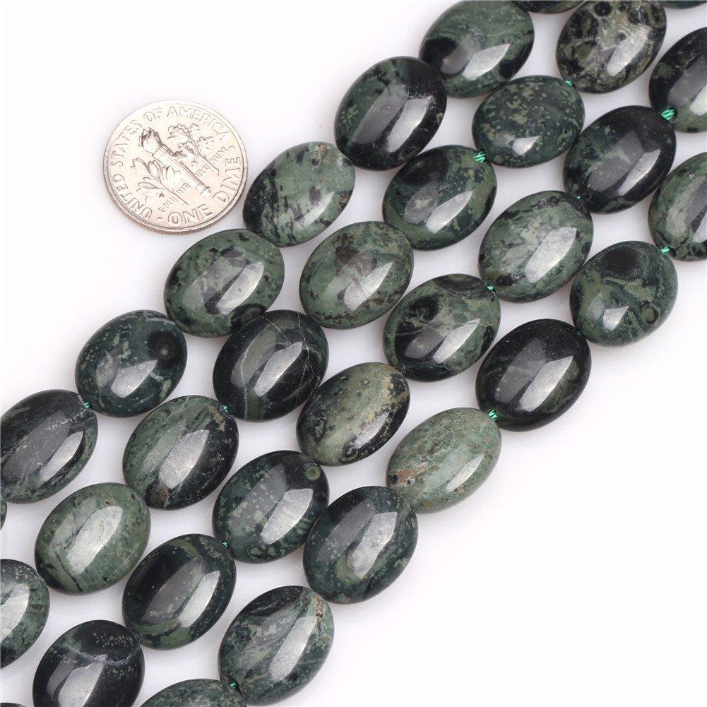 Joe Foreman Rhyolite Kambaba Jasper Beads for Jewelry Making Natural Gemstone Semi Precious 12x16mm Dark Green Oval 15''