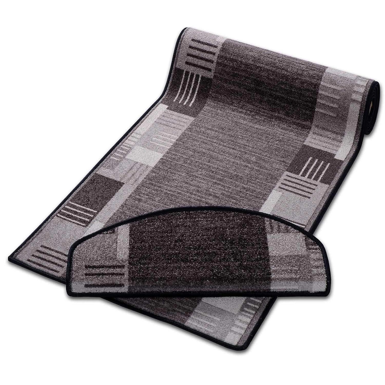 Casa pura Läufer mit Zeitloser Musterung | Grau | Qualitätsprodukt aus Deutschland | Gut Siegel | Kombinierbar mit Stufenmatten | 3 Breiten und 27 Längen (67x400cm)