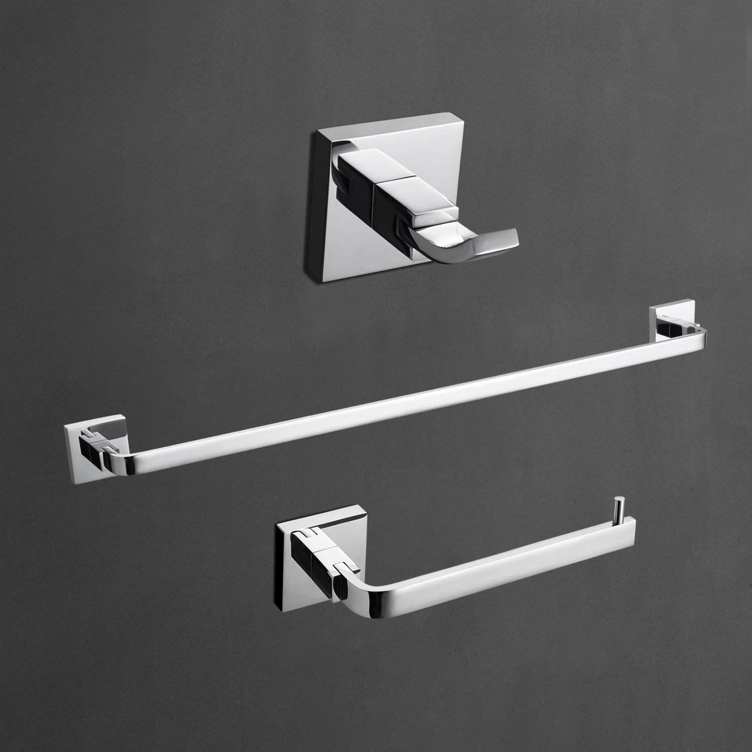 StarFashion 3-peice Bathroom Accessories Set Towel Bar Toilet Paper Holder Robe Hooks Bathroom Shelf Solid Brass Wall Mounted,Chrome Finish Contemporary Bath Shower Set Kitchen Towel Racks by StarFashion