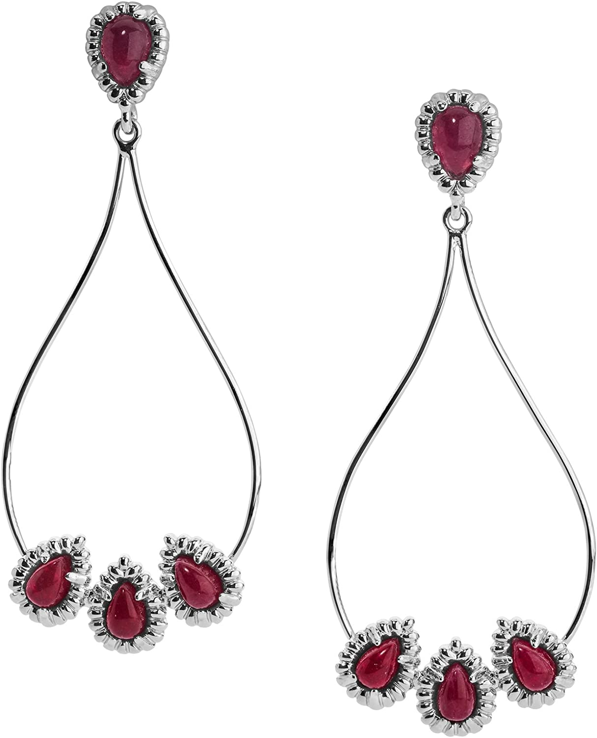 Carolyn Pollack Sterling Silver Multi Gemstone Choice of 4 Color Combinations Open Pear-Shape Dangle Earrings