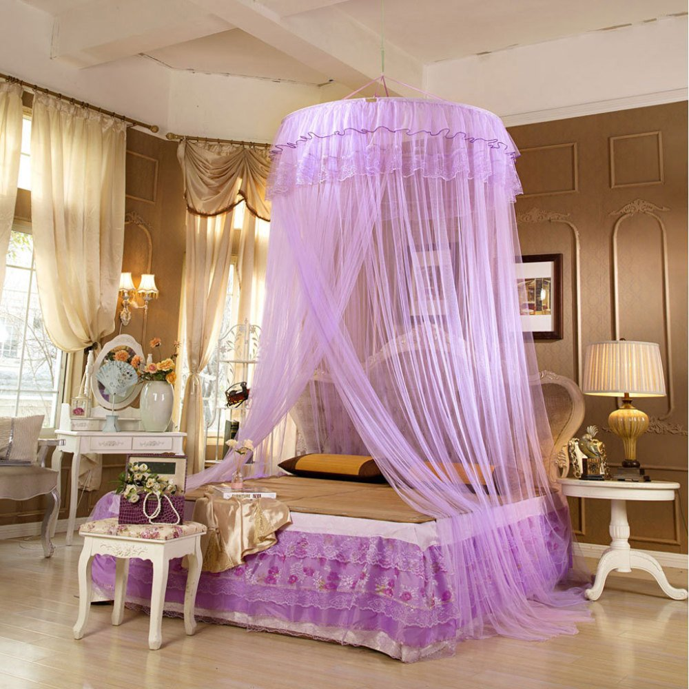 Mosquito Net Bed Canopy For 1-2m Bed Fly Insect Protection Indoor Decorative Height 280cm Top Diameter About 1m,1.2m