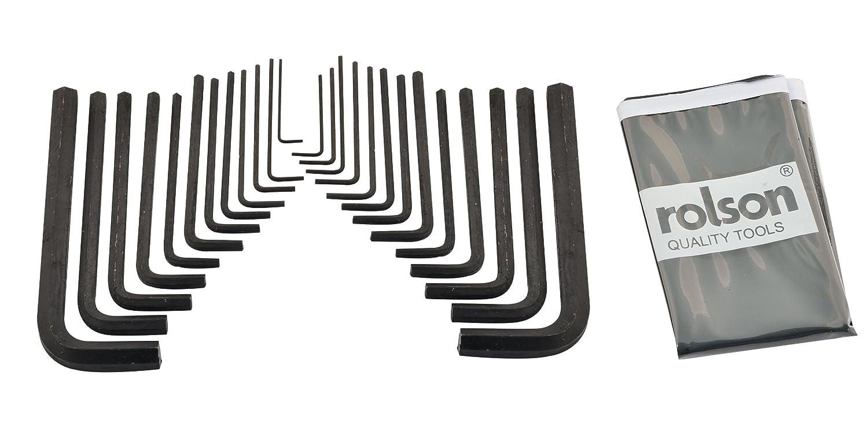 Rolson Hex Key Wrench Set 25pc Allen Keys Long Arm Imperial + Short Arm Metric 40339