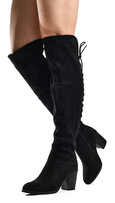 7db7aea728f Women's Over The Knee Verona Low Stacked Block Chunky Heel Pointy Almond  Toe - Stretchy Thigh High Boots by LUSTHAVE