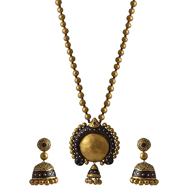 Avarna Terracotta Necklace Set Nsa0006 For Women (Black ) Necklaces at amazon