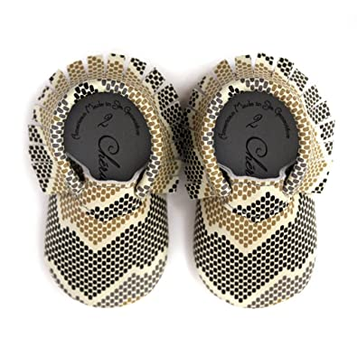 Snakeskin Print 18-24 Month 100% American Leather Moccasins for Babies & Toddlers Made