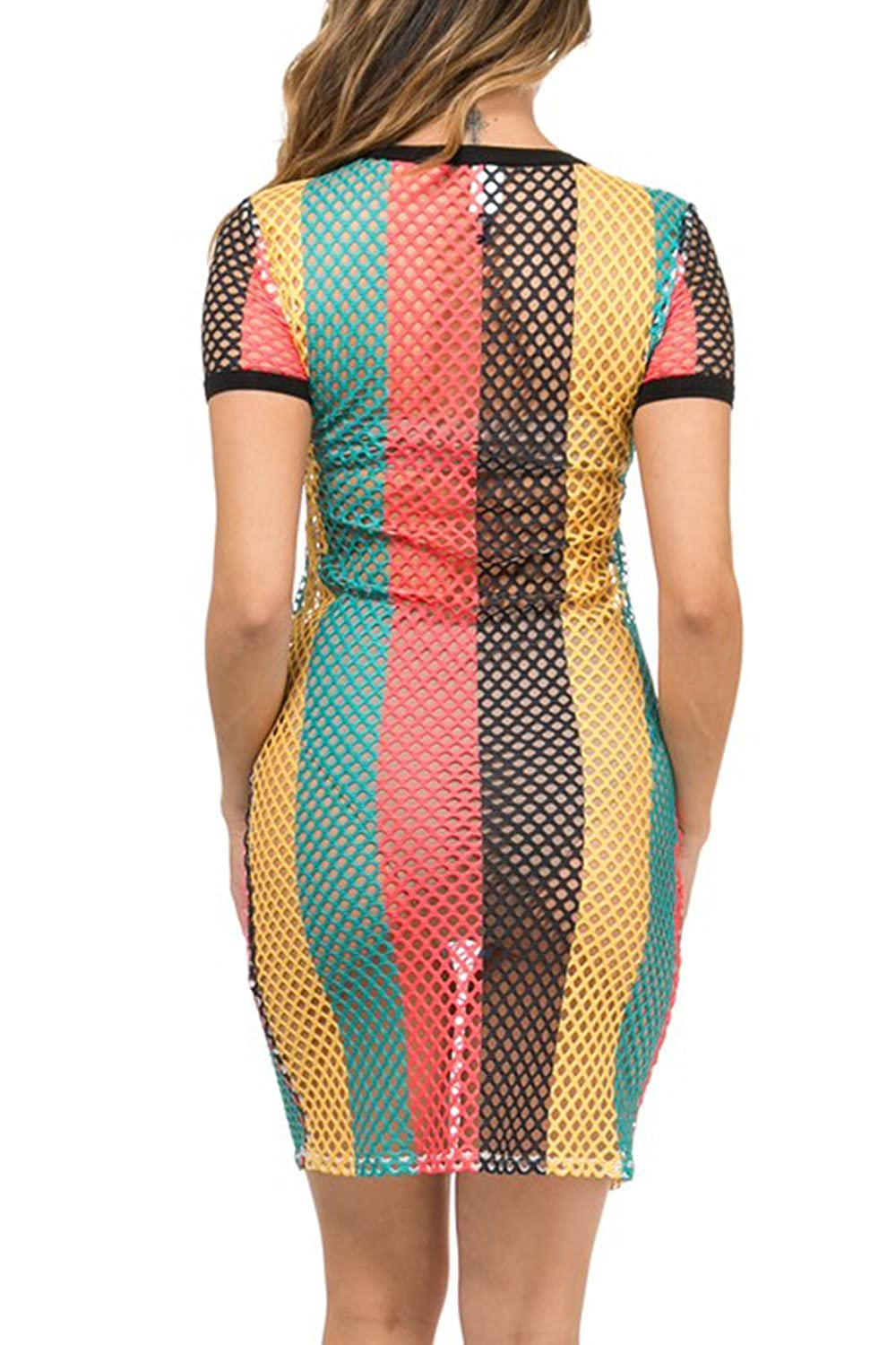 a7698d9f80 GENx Womens Fishnet Rasta Jamaica Bikini Cover Up Tunic Dress KD8710 -  Multi -: Amazon.co.uk: Clothing
