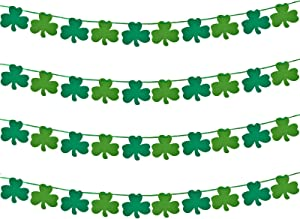 FilmHoo 4 Pack St Patricks Day Decorations -St Patricks Day Garland Banner Including 40 Pieces Felt Shamrock Green & Light Green for St. Patrick 's Day Garland Decor and Lucky Irish Party Supplies